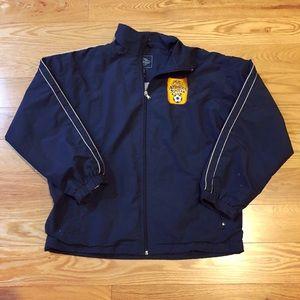 Navy blue Atomics Soccer Club warmup jacket